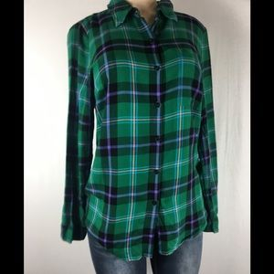 Anthropologie cloth & stone green plaid shirt med